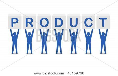 Men holding the word product. Concept 3D illustration.