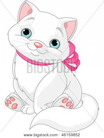 Illustration of cute fat cat with pink bow