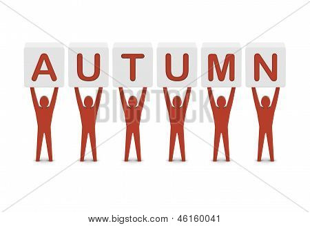 Men holding the word autumn. Concept 3D illustration.
