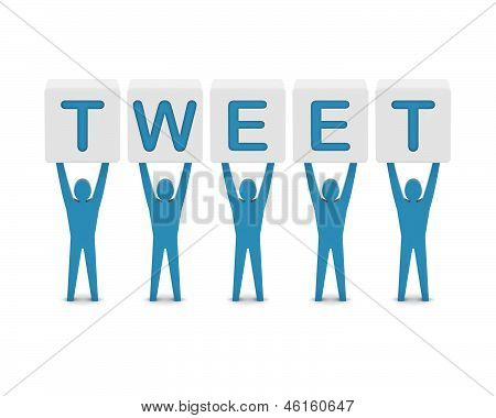 Men holding the word tweet. Concept 3D illustration.