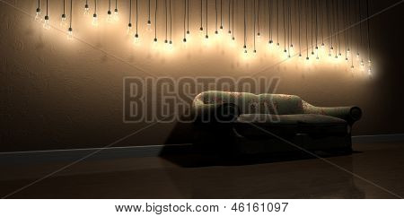 Light Bulb Hanging Wall Decoration In Room With Vintage Floral Sofa