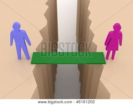 Man and woman split on sides bridge through separation crack. Concept 3D illustration.