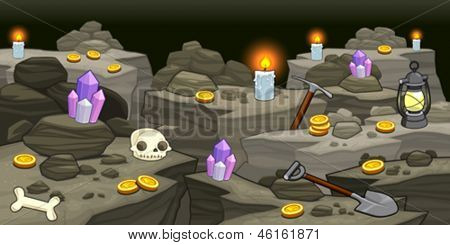 Mine with objects. Cartoon and vector illustration