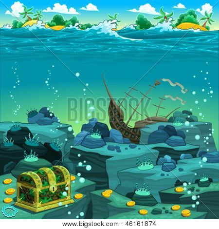Seascape with treasure and galleon. Vector cartoon illustration