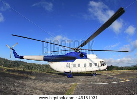 Helicopter On Takeoff In Mountains
