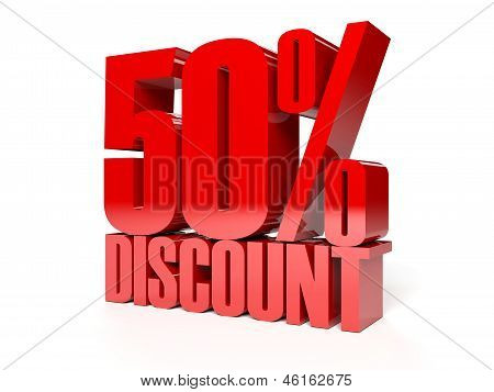 50 percent discount. Red shiny text. Concept 3D illustration.