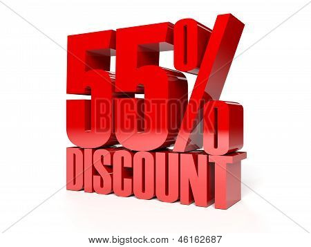 55 percent discount. Red shiny text. Concept 3D illustration.
