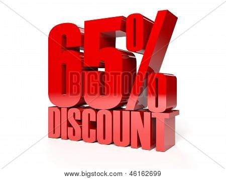 65 percent discount. Red shiny text. Concept 3D illustration.