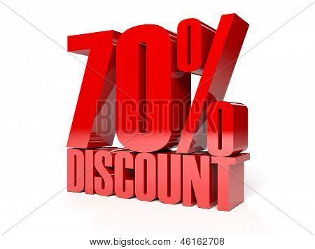 70 percent discount. Red shiny text. Concept 3D illustration.