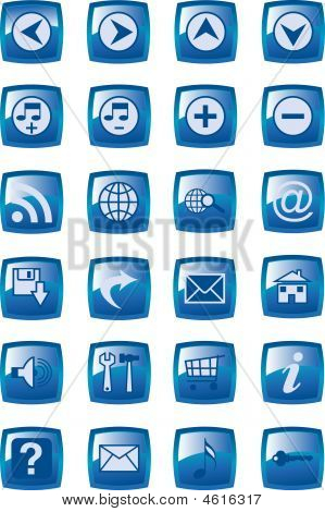 Illustration Of Glossy Multimedia Icon Set