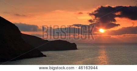 Sunrise In The Mountains. Mountain Meganom, Crimea, Ukraine