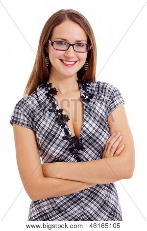 Young smiling woman in checkered dress. Isolated on white background, mask included