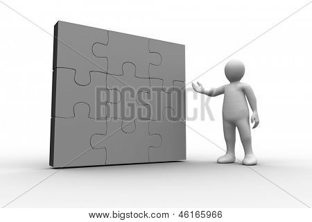 White human figure showing solved jigsaw puzzle on white background