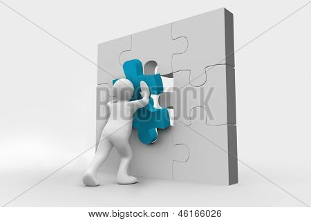 Blue human representation resolving a jigsaw puzzle