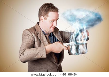 Businessman With Plan Cooking Up Strategic Storm