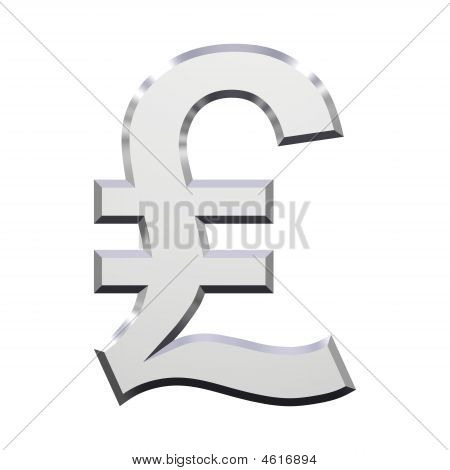 Chrome Pound Sign Isolated On White.