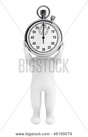 Little Human Character With Stopwatch