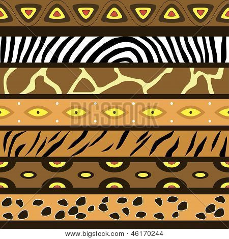 Vector seamless pattern with the skins of African animals