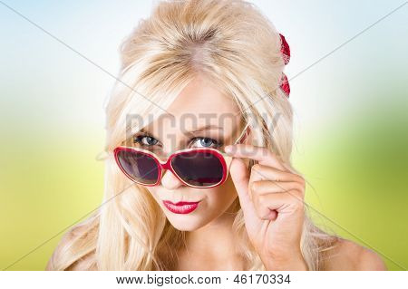 Blond Lady Wearing Uv Protective Sunshades Outside