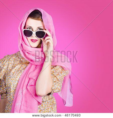 Beautiful Woman Wearing Pink Headscarf Fashion