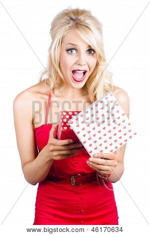 Overjoyed Woman With Valentine Gift Box