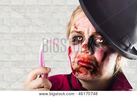 Monster Holding Sad Toothbrush. Rotting Teeth