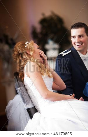 Laughing Newlywed Couple