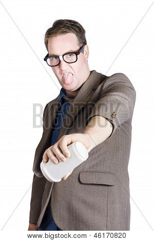 Office Worker Pouring Out Drink. Bad Coffee
