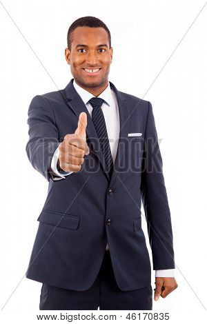 Smiling African American business man gesturing a thumbs up sign on white background