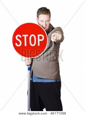 Isolated Man Holding Red Traffic Stop Sign