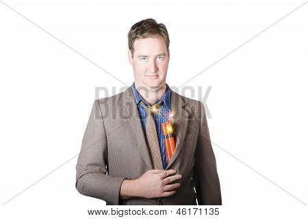 Male Business Person With Explosives In Jacket