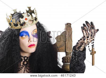 Queen Holding Cross Necklace