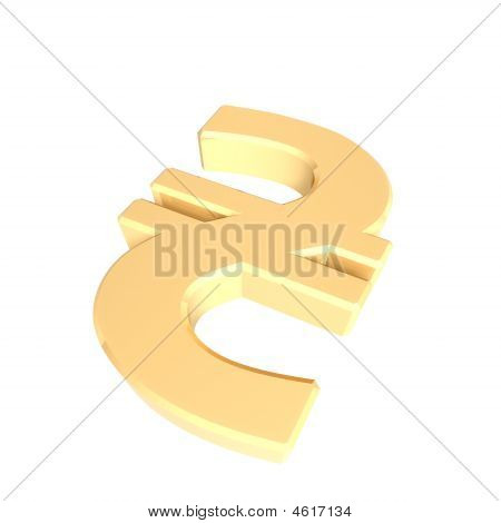 Gold Hryvnia Sign Isolated On White.