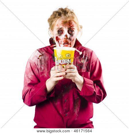Zombie Woman With Popcorn