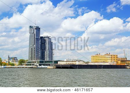 GDYNIA, POLAND - MAY 19: Modern architecture of Sea Towers skyscraper in Gdynia on 19 May 2013. Sea Towers is the 10th tallest building in Poland (143,6 meters) with 38 floors.