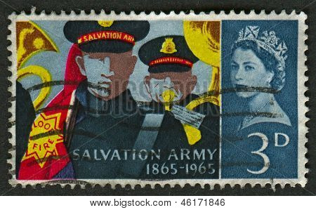 UK - CIRCA 1965: A stamp printed in UK shows image of the Bandsmen and Banner, Salvation Army Centenary, circa 1965.