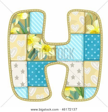 Roundish Font From Quilted From Multi-colored A Blanket Rag - Letter H