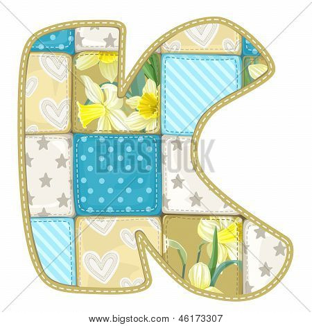 Roundish Font From Quilted From Multi-colored A Blanket Rag - Letter K