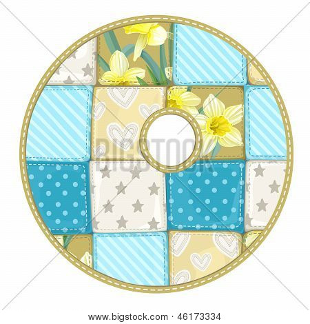 Roundish Font From Quilted From Multi-colored A Blanket Rag - Letter O