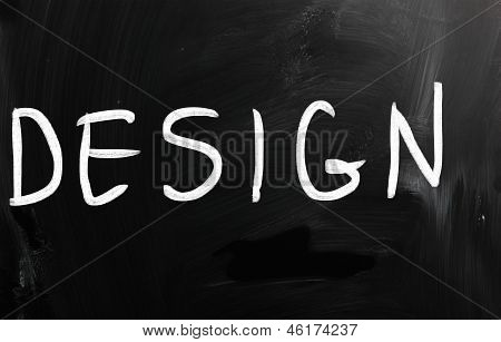 "The Word ""design"" Handwritten With White Chalk On A Blackboard"