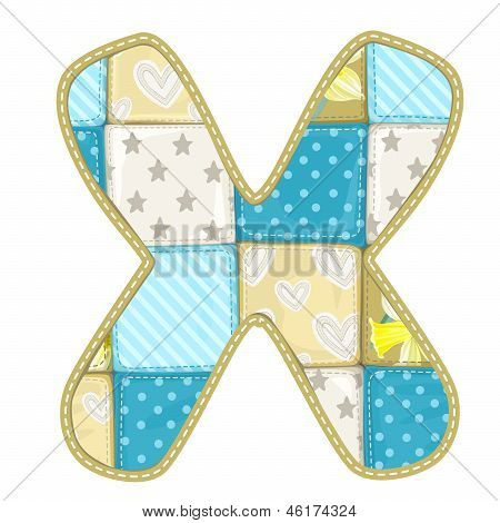 Roundish Font From Quilted From Multi-colored A Blanket Rag - Letter X