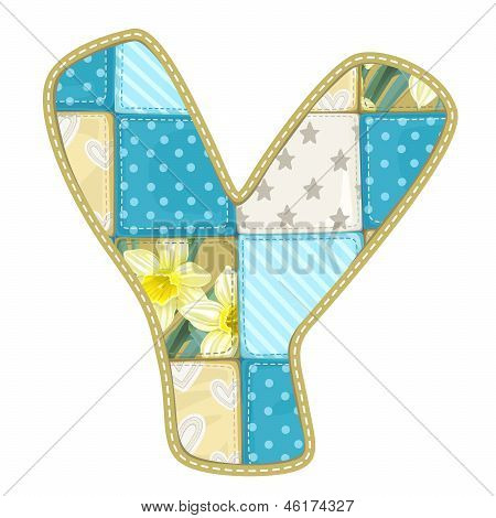 Roundish Font From Quilted From Multi-colored A Blanket Rag - Letter Y