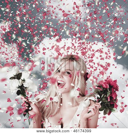 Tender Woman With Flowers. Romantic Celebration
