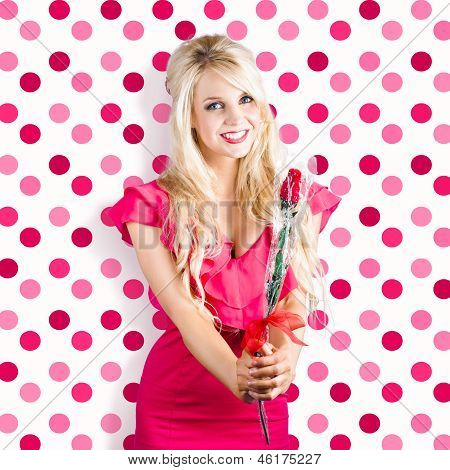 Romantic Girlfriend Receiving Rose From Valentine