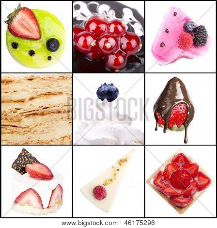 collage of tasty desserts