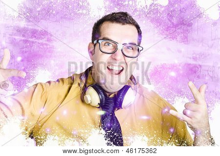 Nerdy Nightclub Dj Spinning A Music Mix