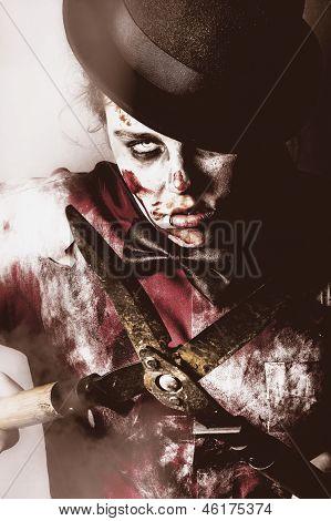 Spooky Undead Zombie Gardener. Midnight Pruning