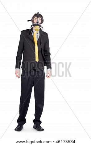 Businessman In Gas Mask