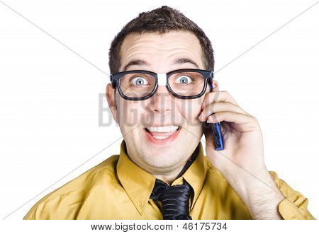 Amazed Businessman On Phone Call