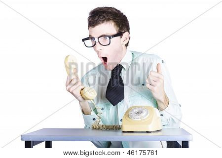 Excited Businessman With Phone